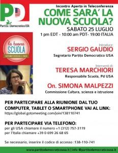 Come sara' La Nuova Scuola? Il 25 luglio, incontro aperto in teleconferenza con l'Onorevole Simona Malpezzi