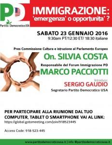 Immigrazione: Emergenza o Opportunita'? Incontro in teleconferenza con l'On. Silvia Costa e Marco Paciotti. 23 Gennaio, 12:30 p.m. EST