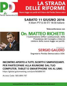 Incontro in teleconferenza con On. Matteo Richetti – La Strada delle riforme –