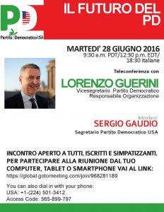 Incontro in teleconferenza con Lorenzo Guerini – Il futuro del PD –